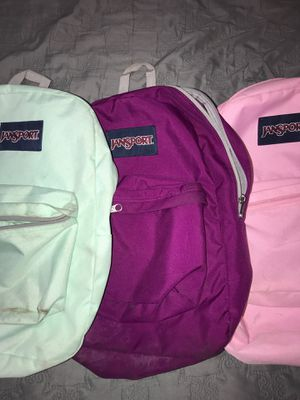 LOT 3 USED!!! JanSport Super Break Backpacks Pink Purple & Aqua. Condition is Pre-owned. for Sale in Arlington, MA