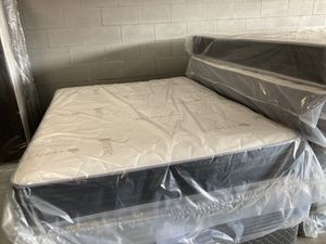 New Queen Sleep collection deluxe plush mattress and free box spring $225 Medium soft. Tencel cover for Sale in Winter Park, FL