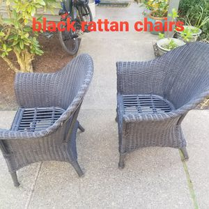 Black Rattan Chairs sold as pair for Sale in Lake Grove, OR
