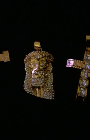 Gold plated cz jesus charm. Large for Sale in Mechanicsburg, PA