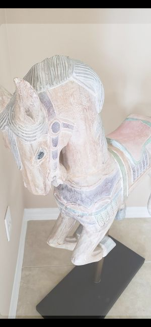 35 L X 29 H SOLID!!HAND PAINTED WOODEN CAROUSEL HORSE for Sale in Delray Beach, FL
