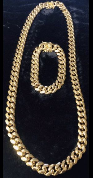 New 18 k yellow gold Cuban link chain and bracelet for Sale in Lauderhill, FL
