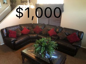 5 piece LEATHER couch sectional W/ 3 extra wide recliners!!! for Sale in Queen Creek, AZ