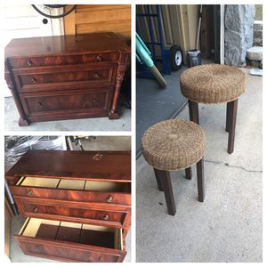 """Broyhill solid wood filing cabinet and two end tables. Cabinet is1'8"""" wide 3' long 31""""high. End tables 16"""" round 21""""high and 12"""" round and 18"""" high. for Sale in Winter Park, FL"""