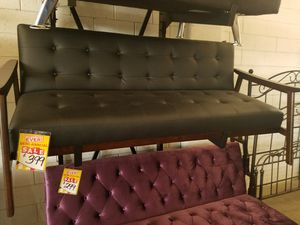 Black Leather MCM Futon for Sale in Dallas, TX