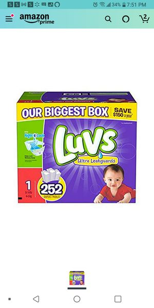 Luvs size 1 252 count Diapers for Sale in Las Vegas, NV