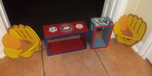 4 piece sports decor wall shelves 2 mitt corner shelves 10 x 8 and 2 rectangle shelves 17 x 8 , 9 x 6 for Sale in Missouri City, TX
