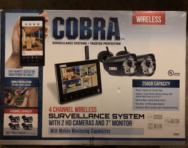 "BRAND NEW 4 COBRA CHANNEL WIRELESS SURVEILLANCE SYSTEM WITH 2 CAMERAS 7""  monitor 63842 for Sale in Anaheim, CA - OfferUp"