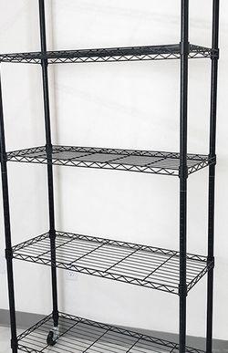 "Brand New $70 Metal 5-Shelf Shelving Storage Unit Wire Organizer Rack Adjustable w/ Wheel Casters 36x14x74"" for Sale in Whittier,  CA"