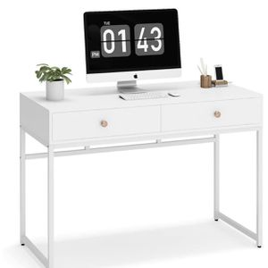 Tribesigns Computer Desk, Modern Simple 47 inch Home Office Desk Study Table Writing Desk with 2 Storage Drawers, Makeup Vanity Console Table for Sale in Rosemead, CA