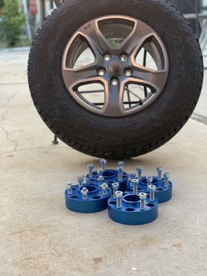 Jeep Wrangler wheels, tires and spacers (90% tread) for Sale in Azusa, CA