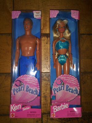 Two unopened collectible Pearl Beach Ken and Barbie Mattel dolls for Sale in Hawthorne, CA