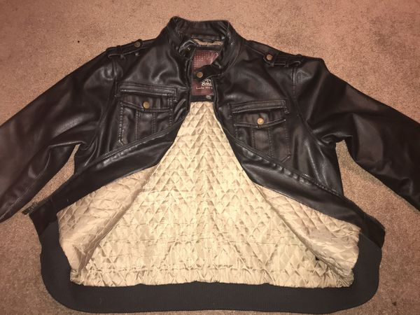 WHISPERING SMITH LONDON MENS BROWN FAUX LEATHER JACKET QUILTED LINING SIZE XXL