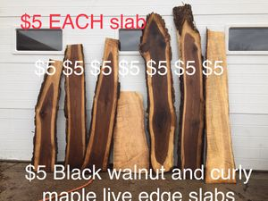 Curly maple and black walnut live edge slabs for Sale in Elmira, NY