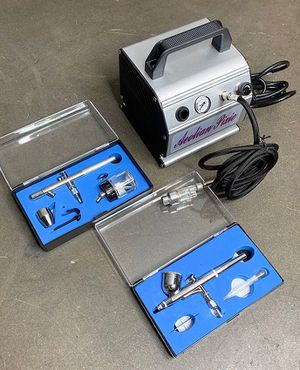 (NEW) $75 Pro Airbrush Kit w/ Air Compressor, 2x Dual-Action Airbrushes & Air Hose for Sale in South El Monte, CA
