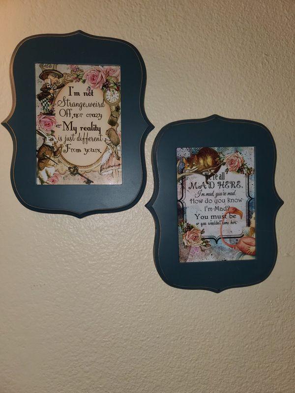 2 framed 5x7 Alice and wonderland pics