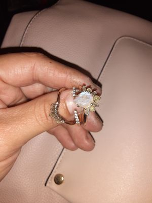 Stackable 14k rose gold with authentic rainbow moonstone, and white and blue topaz for Sale in Phoenix, AZ