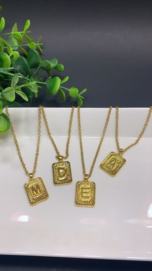 Gold Plating Initial Letter Pendant Necklaces, Each $8.99 for Sale in Tustin, CA