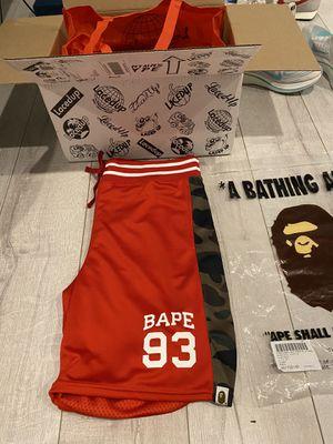 Bape Basketball Shorts Red/Camo for Sale in Fairfax Station, VA