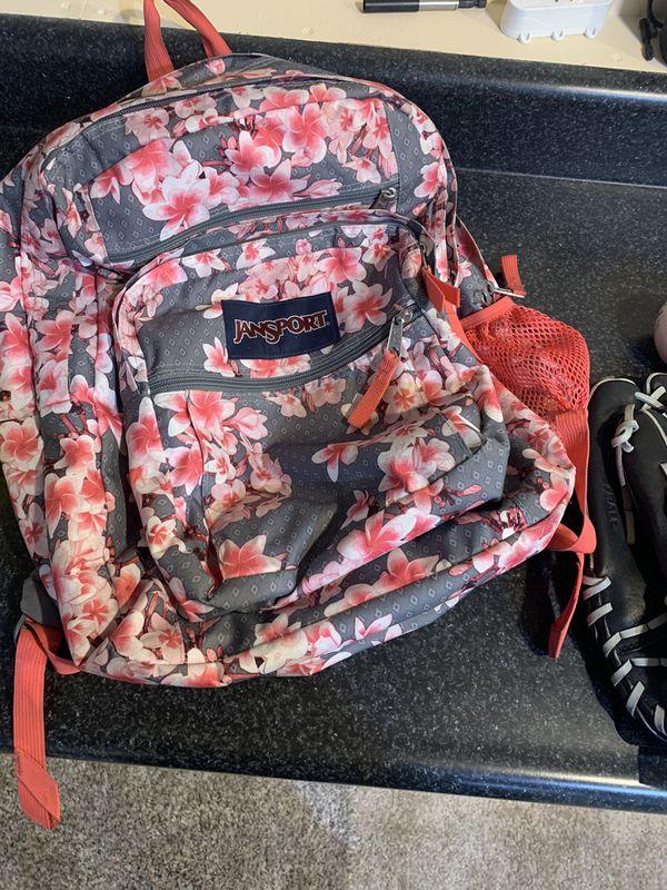 Girls book bag and baseball/softball Right gloves