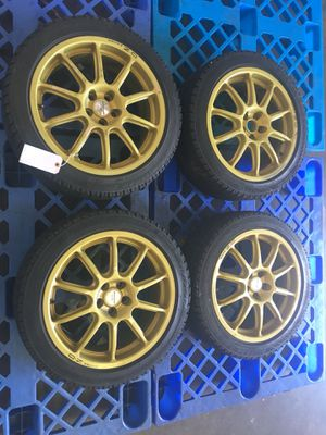 Jdm Subaru STI Prodrive wheels 5x100 17x7+40 2002-2005 WRX Gold spec C Rims for Sale in Buena Park, CA