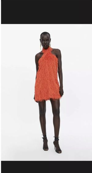 Zara red fringe halter dress in size large for Sale in Laurel, MD