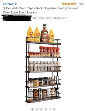 5-tier wall mount spice rack organizer, plantry cabinet door spice shelf storage- brand new for Sale in Corona, CA