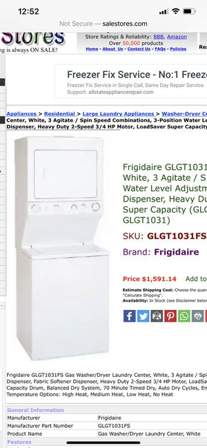 Frigidaire GLGT1031FS Gas Washer/Dryer Laundry Center, for Sale in Richmond, CA