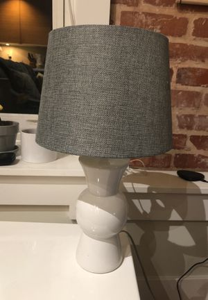 White table lamp with gray shade for Sale in Los Angeles, CA