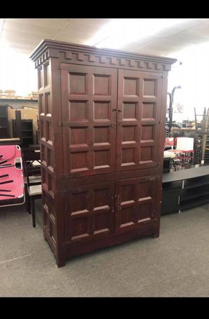 Renaissance Molina Antique Cabinet Regular Price $4999 Discounted Half off $2500 TM -Walnut Solid wood -8 feet tall and 4 1/2 inches wide -300 lbs for Sale in Houston, TX