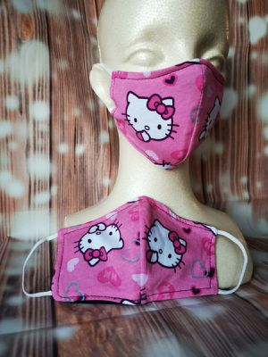 Kids Face mask, Facemask (hello Kitty pink hearts): Hand made mask, reversible, reusable, washer and dryer safe. for Sale in Long Beach, CA