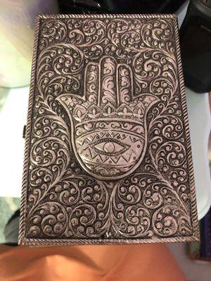 Hamsa hand wooden box with metal top for Sale in Newport News, VA