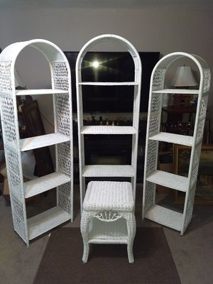 Beautiful White wicker shelves and table for Sale in Claremore, OK