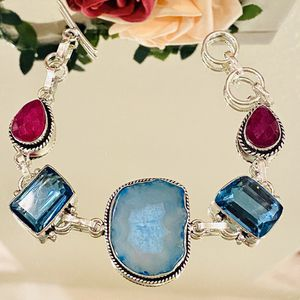 new solar quartz, blue topaz and ruby (lab) bracelet for Sale in Camarillo, CA