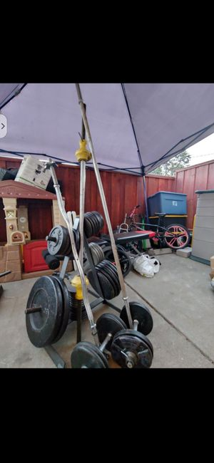 1 in weight set. 450 pounds w/ bars and stand for Sale in Castro Valley, CA