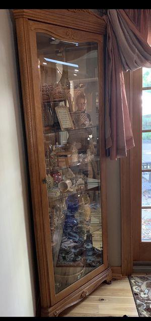 Beautiful oak corner curio with glass shelves. for Sale in Old Bridge, NJ