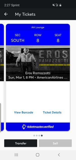 Eros Ramazzotti Concert tix for Sale in Miami Beach, FL