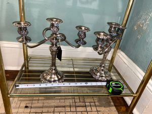 Pair of beautiful silver candle holders ornate vintage for Sale in Valdosta, GA
