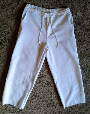 White Linen Mens Pant Size M would be equivalent to waist size 33-34 for Sale in Arlington, VA
