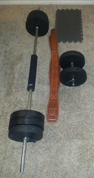 Weights 80lbs. 8x10lbs vinyl. 6 foot chrome barbell, chrome dumbbell bar, barbell cushion, weight lifting belt, 2 cushion pads for Sale in Deerfield Beach, FL