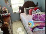 Queen size set consisting of bed without mattress, chest of drawers and mirror in good condition for Sale in Auburndale, FL
