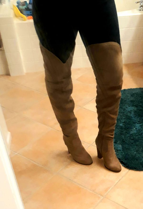 Charlotte Russe thigh high tan boots