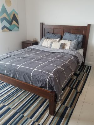 Full queen bedroom set. Queen bedframe and mattress, dresser, nightstand, end table, mirror, shoerack, bookcase. Individually also for sale for Sale in Miami, FL