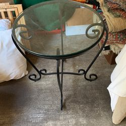 Wrought Iron Side Table With Glass for Sale in West Linn,  OR