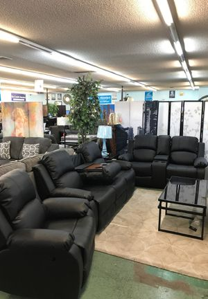 Leather Reclining 3Pcs Sofa Set No credit financing available for Sale in North Highlands, CA
