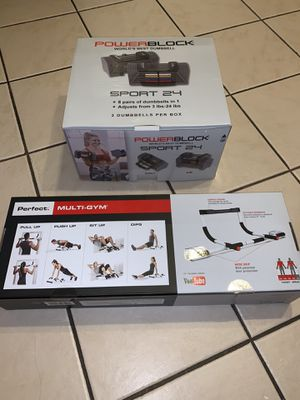 NEW BUNDLE SET AVAILABLE POWER BLOCK DUMBELLS WITH MULTI GYM PULL UP for Sale in Oak Park, IL