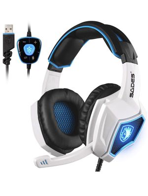 7.1 Surround Stereo Sound USB Computer Gaming Headset with Microphone,Over-the-Ear Noise Isolating,Breathing LED Light For PC Gamers (Black White) for Sale in Irvine, CA