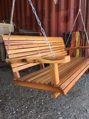"""RED OAK PORCH SWINGS 54"""" Wide With Chain Natural Oil Finish $350 for Sale in Perris, CA"""