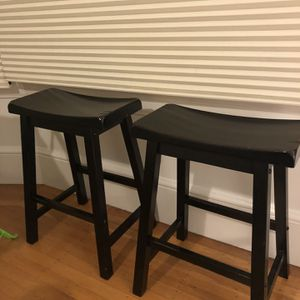 2 black wooden bar stools for Sale in San Francisco, CA
