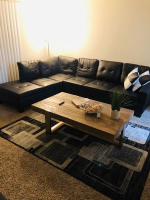 Black L type leather couch for Sale in Virginia Beach, VA